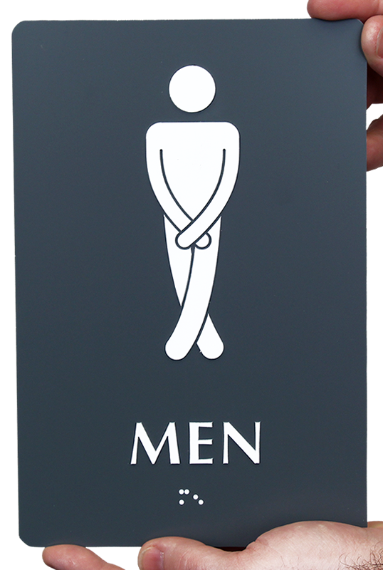 Men with Cross Legs Funny Restroom Braille Sign, SKU - SE-2026