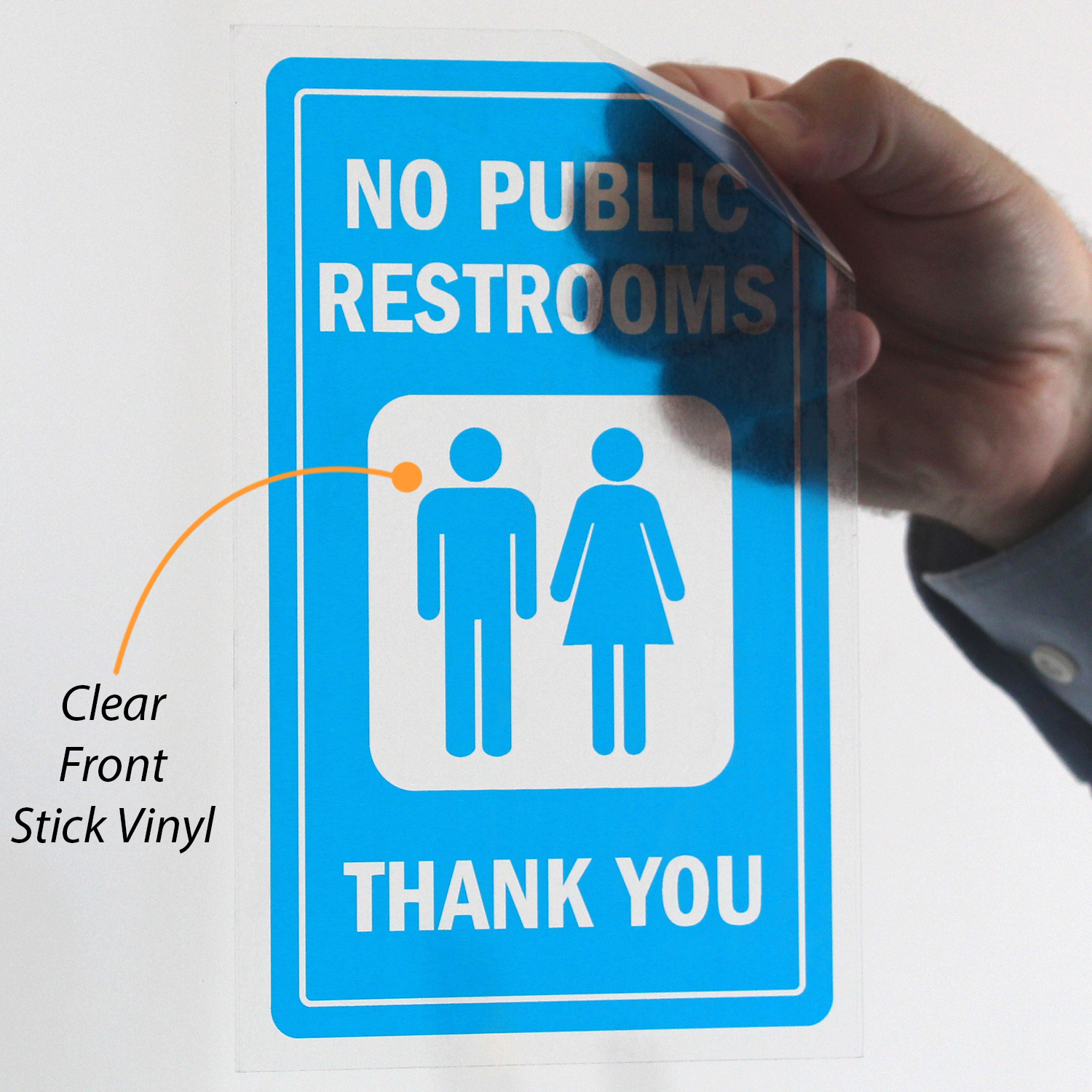 No Public Restrooms Window Decal With Graphic Free Pdf Signs Sku S 4874