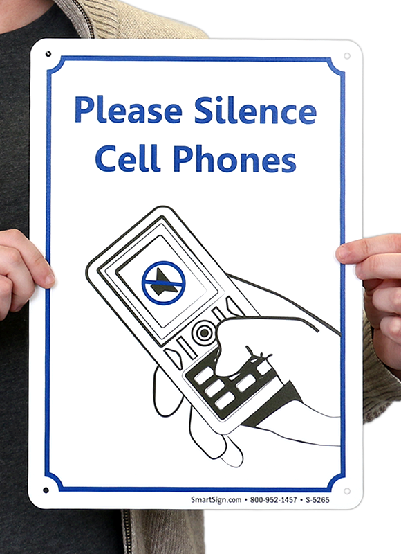 14 in  x 10 in  please silence cell phones sign  sku  s