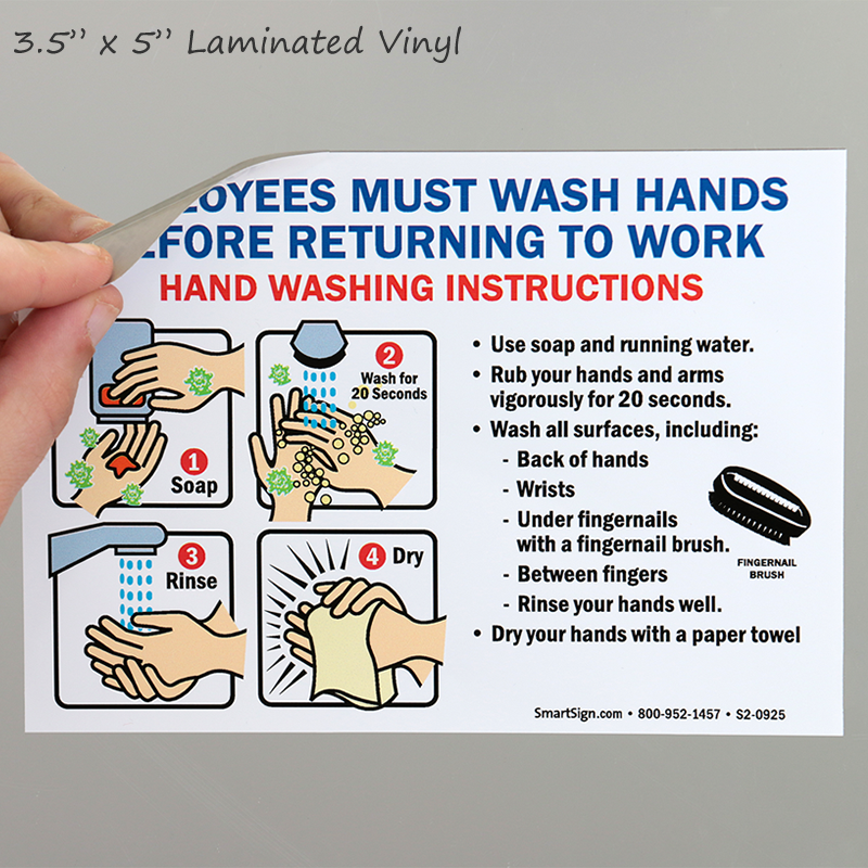 Employees Wash Hands Sign With Instruction Steps Graphic ...
