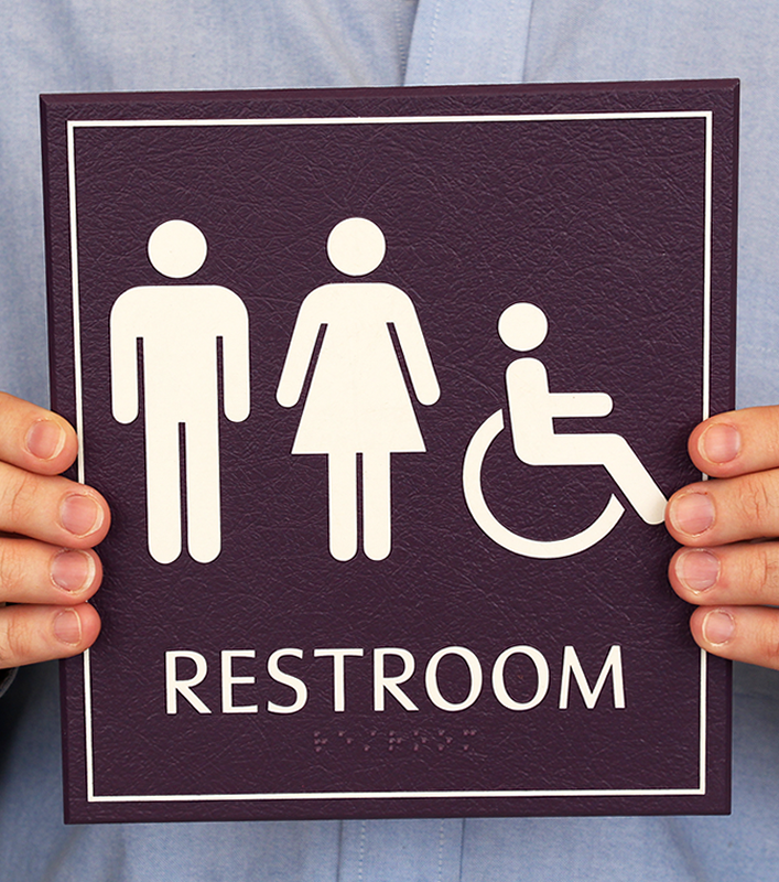 Leathertex unisex handicapped bathroom sign with braille for Unisex handicap bathroom sign