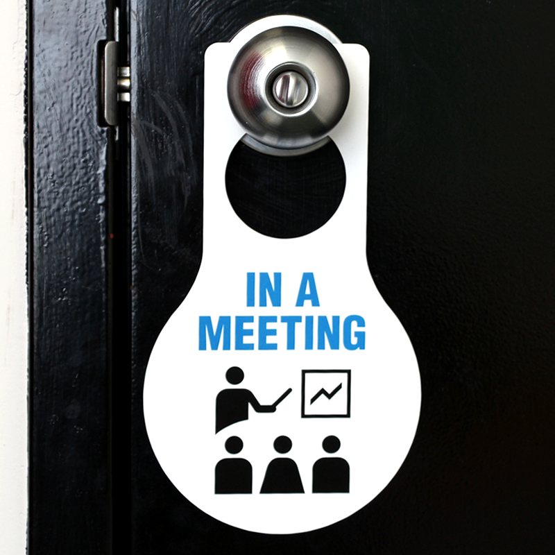 In A Meeting Hang Tag Plastic Pear Shaped Door Tags Sku