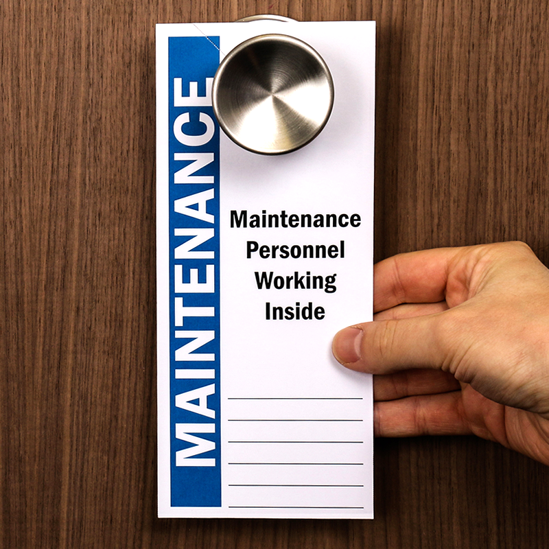Login Funny Toilet Sign Door Sticker Custom Name Door: Maintenance Personnel Working Inside 2-Sided Door Hanger