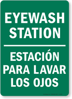 bilingual eyewash station estacion para lavar los ojos sign sku s 1449. Black Bedroom Furniture Sets. Home Design Ideas
