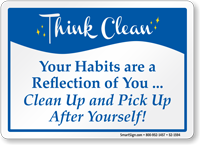 Clean up and pick up habits sign sku s2 1594 - Clean up after yourself bathroom signs ...