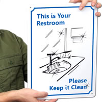 Please Keep Restroom Clean Sign | Fast Shipping, SKU: S-5257