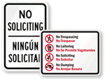 Bilingual No Soliciting Signs