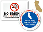 California No Smoking and Smoking Permitted Signs