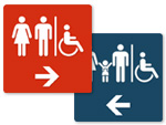 Direction Signs to Family Bathroom