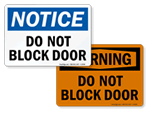 Do Not Block Door Signs