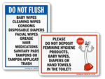 Do Not Flush Signs