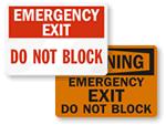 Do Not Block Door Signs