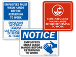 Employees Must Wash Hands Signs