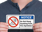 Fire Sprinkler - Don't Hang Anything Label