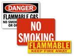 Flammable Material No Smoking Signs and Labels