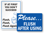 Flush After Using Signs