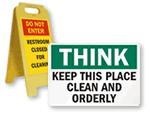 Clean Bathroom Signs & Labels