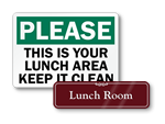 Lunch Room Signs