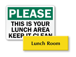 Lunch Room Signs & Break Room Signs