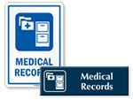 Medical Records Door Signs