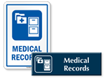 Medical Records Door Signs
