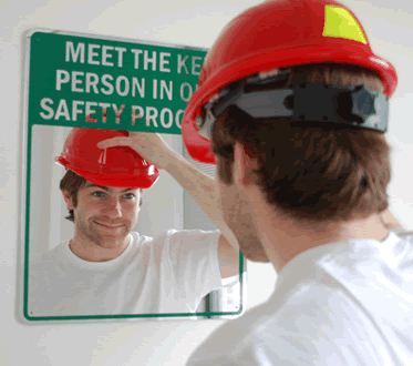 Mirror Message Signs - Safety Messages printed right on a Mirror!