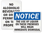 No Alcoholic Beverages Allowed Signs