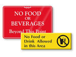 No Food or Drinks Signs