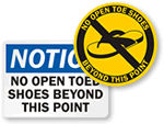 No Open Toed Shoes Signs | Closed Toed Shoes Only Signs