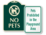 No Pets in Playground Signs
