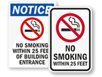 No Smoking Within 25 Feet Signs