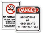 No Smoking Within Custom Feet Signs
