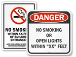 No Smoking Within_ Feet Custom Signs