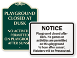 Playground Hours Signs