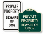 Private Property Beware of Dog Signs