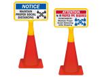 Social Distancing Cone Signs
