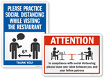 Social Distancing Signs for Restaurants and Bars