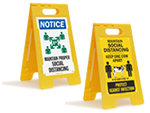 Social Distancing Stand-Up Floor Signs