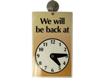 We'll Be Back Clock Signs