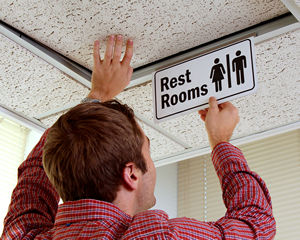 Projecting Bathroom Signs