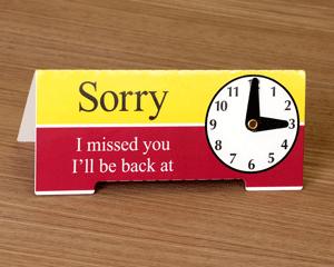 Be back desktop clock sign