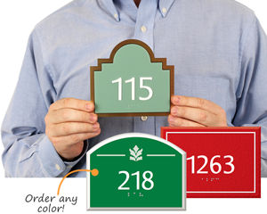 Colored Custom Room Number Signs