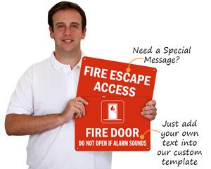 Custom fire exit door sign