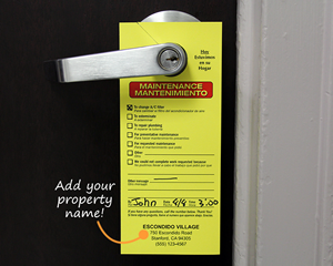 Custom maintenance door hangers