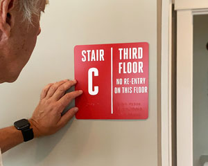 Custom stair and floor braille sign