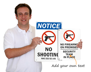 Customize a no firearms sign