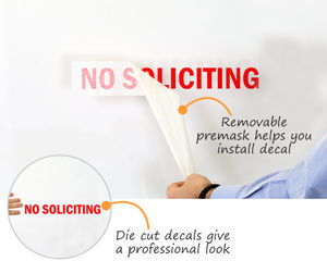 Die-cut no soliciting decal for your door