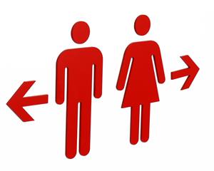 Die Cut Restroom Sign with Adhesive Kit