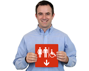 Directional Accessible Restroom Sign