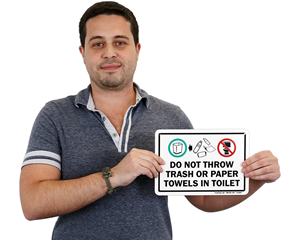 Do Not Throw Trash Or Paper Towels In Toilet